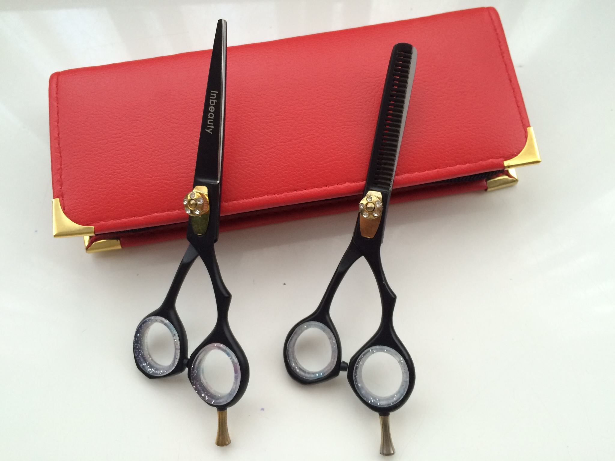 hair dressing scissor set black jewled stainless steel 5.5inch