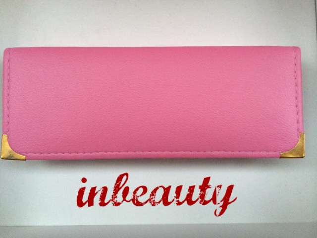 hair dressing pouch case pink leather look