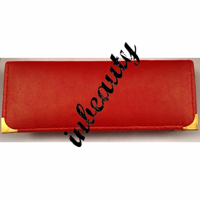 hair dressing pouch case red leather look