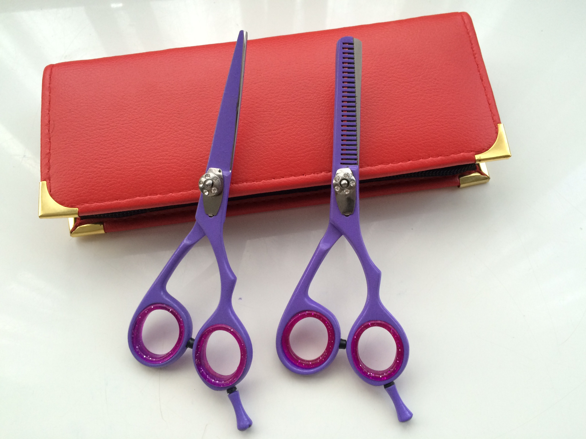 hair dressing scissors set 5.5 inch lilac