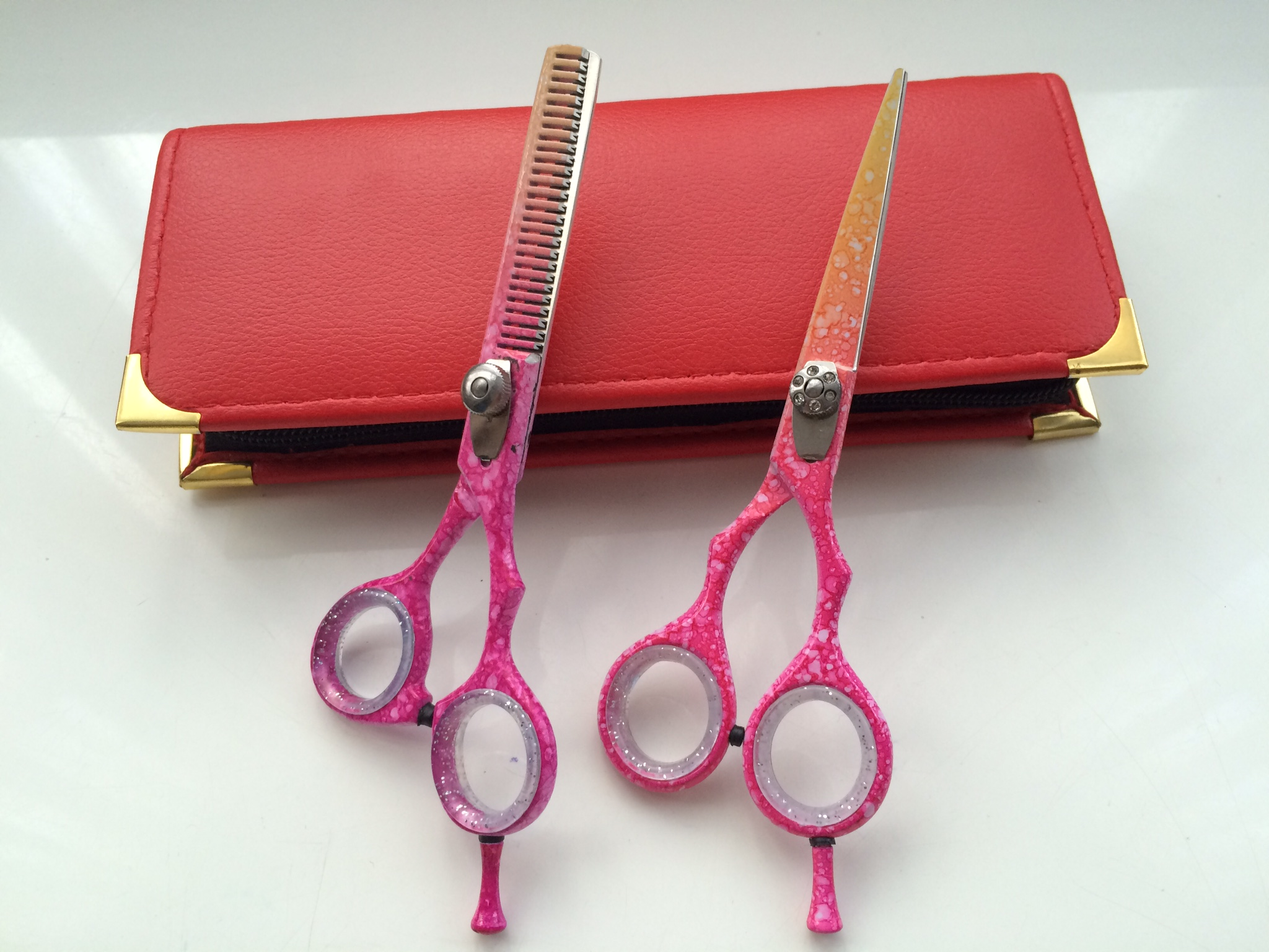Hair dressing scissor thinner set snowflake pattern