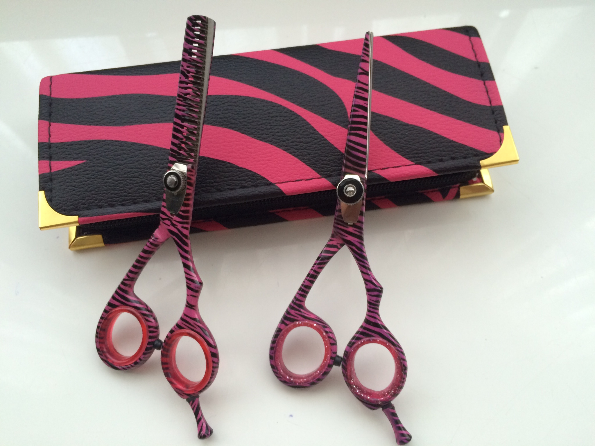 hair dressing scissor set pink zebra 5.5 inch